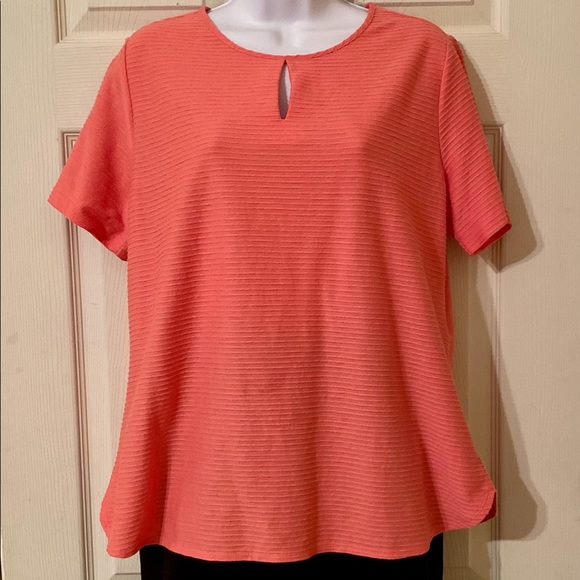 Van Heusen Ribbed Tunic Top With Keyhole Neck